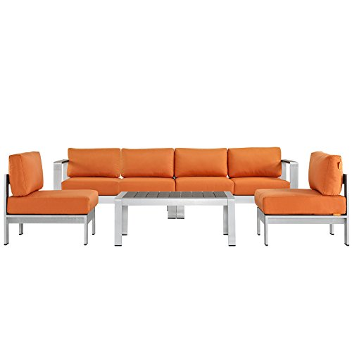 Modway Shore 5 Piece Outdoor Patio Aluminum Sectional Sofa Set, Silver Orange