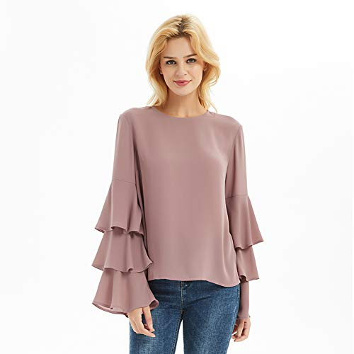 Top Tiered Sleeve (Basic Model Women's Bell Sleeve Tops Round Neck Shirts Ruffled Sleeves Tee Long Sleeve Blouses)