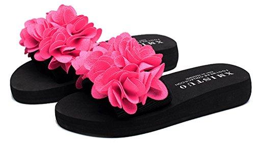 Cattior Mujeres Flower Summer Interior Zapatillas Al Aire Libre Beach Slide Sandalias Rose Red