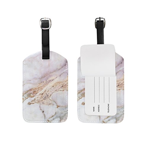 - Cooper girl Marble Texture Luggage Tag Travel ID Label Leather for Baggage Suitcase 1 Piece