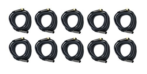 C&E 10 Pack Premier Series XLR Male to XLR Female 16AWG Cable Gold Plated 10 Feet CNE602288 [並行輸入品] B07DZFY4VT