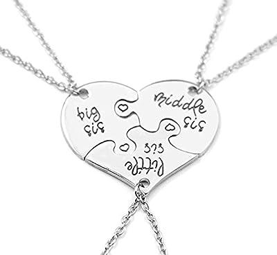 Little Middle Big Sister heart puzzle pendant necklace set(3PCS)