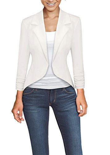 Womens Casual Work High Low Blazer Jacket JK45590X 1073T Ivory 3X