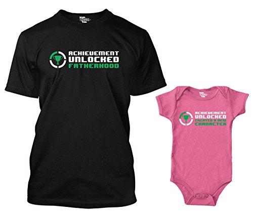 Tcombo Achievement Unlocked Fatherhood/New Character Matching Bodysuit & Men's T-Shirt (Black/Pink, X-Large/Newborn)