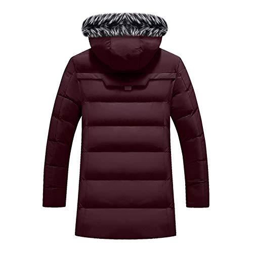 Section Coton Thermal Veste Capuche Hommes De Revers Mélange Leather Hiver Vin Manteau À Lookboom Rouge Doudoune Vestes Longue Automne qXvwnZp