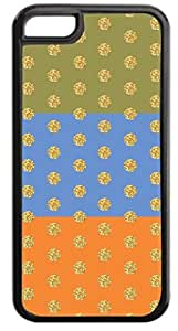 Colorblocked Stripes and Glitter PRINT Polka Dots (Green, Blue, Orange) - Case for the APPLE iphone 5c ONLY-NOT COMPATIBLE WITH THE REGULAR iphone 5c !!!-Soft Black Rubber Outer Case