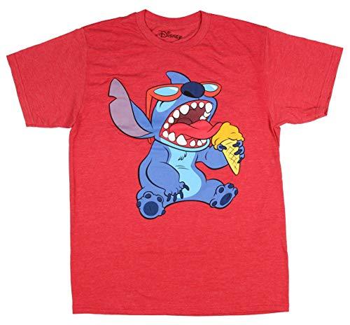 Disney Lilo and Stitch Sunglasses and Ice Cream Snack Men's T-Shirt (Large)