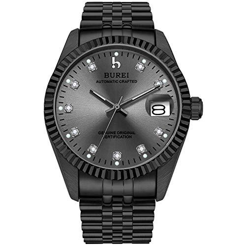 BUREI Men's Luxury Automatic Watch Two Tones Stainless Steel Dress Wrist Watches Self-Winding (Dark Grey)