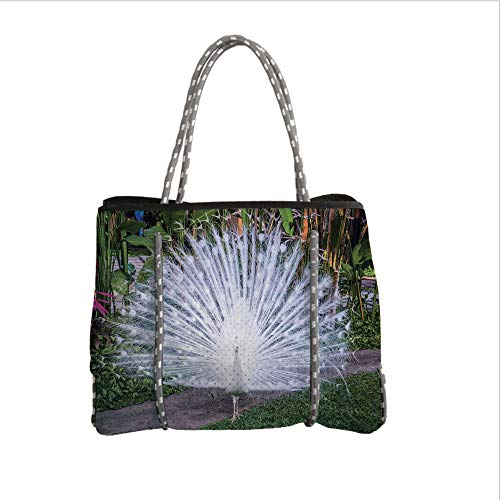 - iPrint Neoprene Multipurpose Beach Bag Tote Bags,Peacock Decor,Peacock Open His Tail Feathers in Tropical Garden Unusual Birds Nature Ornament,White Green,Women Casual Handbag Tote Bags