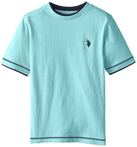 U.S. Polo Assn. Big Boys Double Crew Look T-shirt, Capri Heather, 10/12