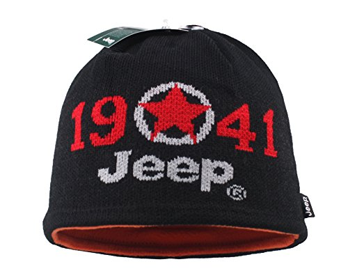 Jeep 1941 Winter Thicken Polar Fleece Knit Ski Reversible Beanie Hat (One size, Black)
