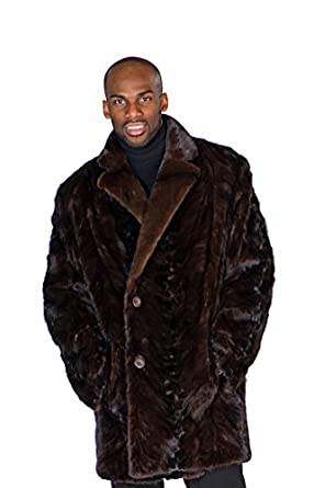 Madison Avenue Mall Mens Mahogany Mink Car Coat - Sculptured Mink