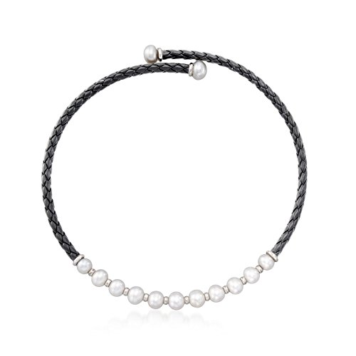 Necklace Pearl Cultured Collar (Ross-Simons 8-12mm Cultured Pearl and Black Leather Collar Necklace With Sterling Silver)