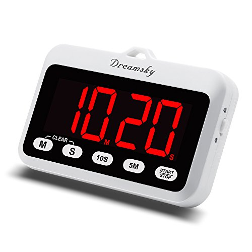 DreamSky Portable Digital Kitchen Timer with Large Red Number Display, Count Up & Down, Loud Alarms Timer with Volume Adjustable, Magnetic Back Stand, Battery Operated Timers for Cooking (Battery Digital Timer Watch)