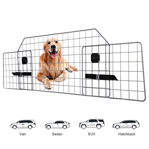 Adakiit Dog Barrier for SUV Car & Vehicles, Adjustable Pet Barrier Car Gate Universal Fit Wire Mesh Dog Car Guard - Car Divider for Dogs Pets SUVs with Upgraded Design (Best Dog Guard For Car)