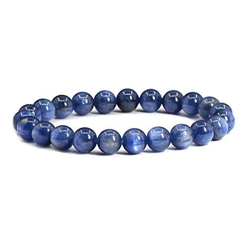 Natural A Grade Kyanite Gemstone 8mm Round Beads Stretch Bracelet 7