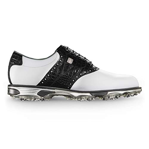 FootJoy Men's DryJoys Tour Golf Shoes White 10.5 W Black Croc Print