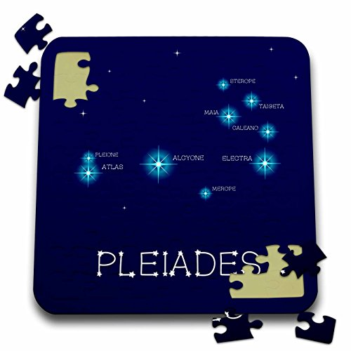 3dRose Alexis Design - Constellations of stars - Pleiades star cluster. Star colors, names. Elegant astronomy - 10x10 Inch Puzzle (pzl_286118_2)