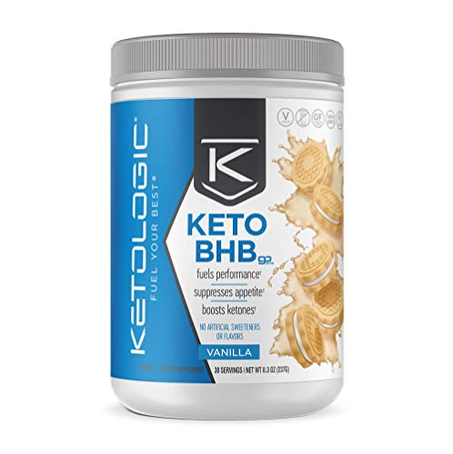 KetoLogic Keto BHB – Exogenous Ketones Supplement Supports Ketosis Weight Management, Increases Energy Focus Low Carb, Electrolytes, Beta-Hydroxybutyrate BHB Salts Vanilla – 30 Servings