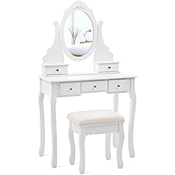 vanity set for teenager. SONGMICS Vanity Set with Mirror and Stool Make up Dressing Table 5 Drawers  2 Amazon com Bathroom Jewelry Makeup Desk Hair