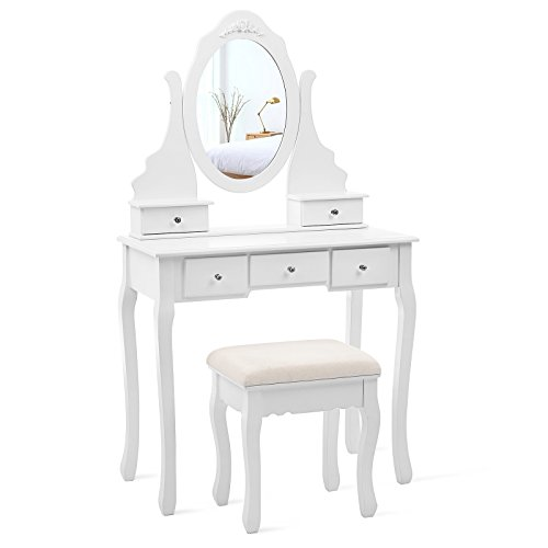 Wood Vanity Bench (SONGMICS Vanity Set with Mirror and Stool Make-up Dressing Table 5 Drawers with 2 Dividers White URDT09W)