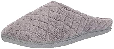 Dearfoams Women's Quilted Terry Clog Mule Slipper - Padded Terrycloth Slip-Ons with Skid-Resistant Rubber Outsole
