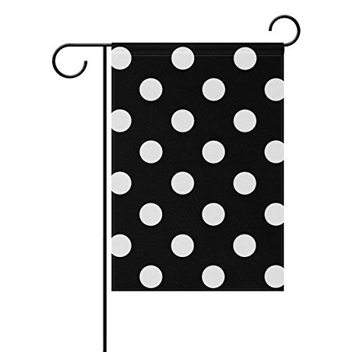 LEISISI Black-And-White-Polka-Dot-Background-Clipart Garden flag 12