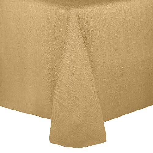 Ultimate Textile -2 Pack- Faux Burlap - Havana 90 x 156-Inch Rectangular Tablecloth - Basket Weave, Camel Brown -