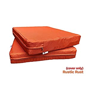 "QQbed 6 Pack Outdoor Patio Chair Washable Cushion Pillow Seat Covers 20"" X 18"" - Replacement Covers Only, X6 Rustic Rust"