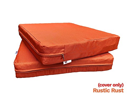 """QQbed 6 Pack Outdoor Patio Chair Washable Cushion Pillow Seat Covers 20"""" X 18"""" - Replacement Covers Only, X6 Rustic Rust"""