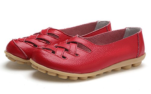 VenusCelia Damen Comfort Walking Casual Flacher Loafer rot
