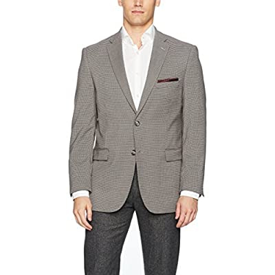 Adolfo Men's Black and White Houndstooth Check Modern Fit Sport Coat at Men's Clothing store