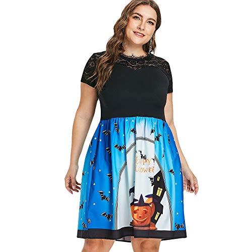 KCatsy Plus Size Pumpkin Print Happy Halloween Dress Black