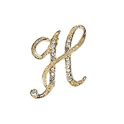 Crystal Rhinestone Initial Letters A-Z Brooches