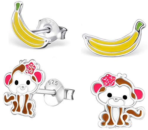 (Best Wing Jewelry .925 Sterling Silver Monkey and Banana Set Tiny Stud Earrings (2 Pairs))