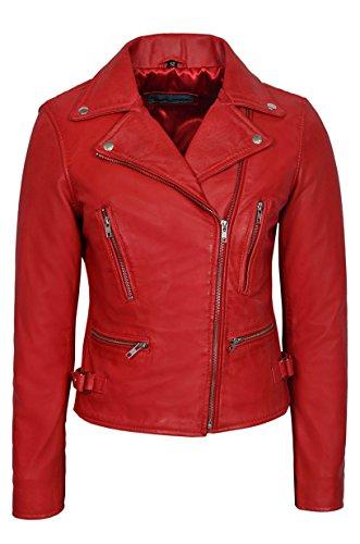 Nuevo Deluxe 2100 Damas rojo Biker Slim fit Cuero Real Nappa Chaqueta de moda de moda