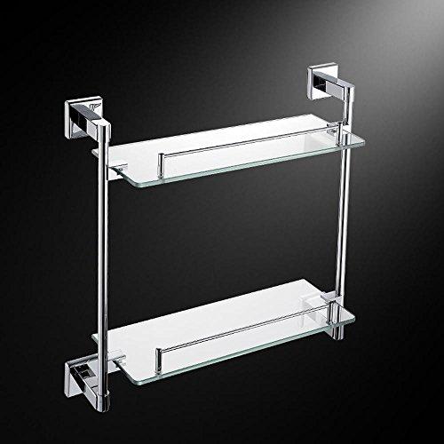 Verchromte 304 Edelstahl moderne Doppelglas Badezimmer Regale-Bad ...