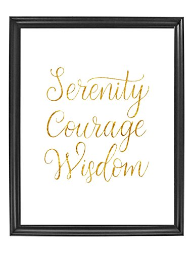 Serenity Courage Wisdom Poster Print Photo Quality - Inspirational Wall Art for Alcoholics Anonymous,