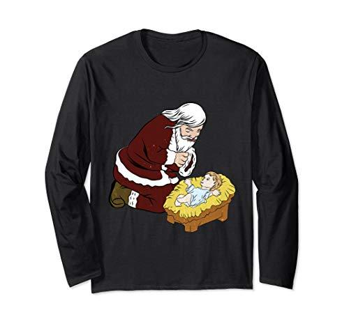 Kneeling Santa Claus With Baby Jesus T-Shirt Christmas Gift