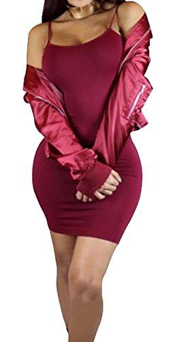 Color Womens Bodycon Domple Fit Solid Dress Club Slim Strap 2 Spaghetti qgTwCBI