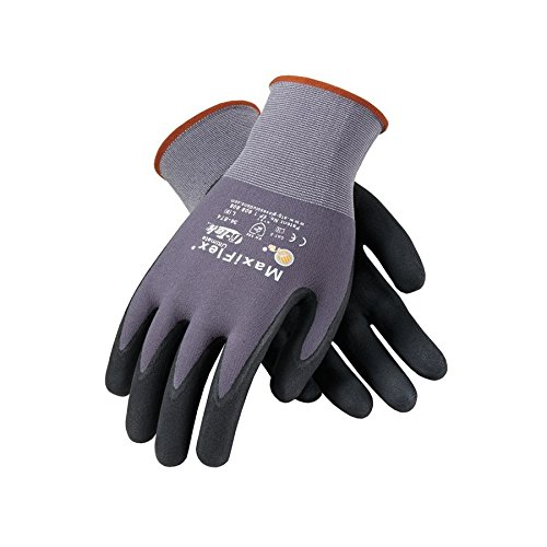 PIP 34-874/M Maxi Flex Ultimate 34874 Foam Nitrile Palm Coated Gloves, Gray, Medium (Pack of 12) by PIP
