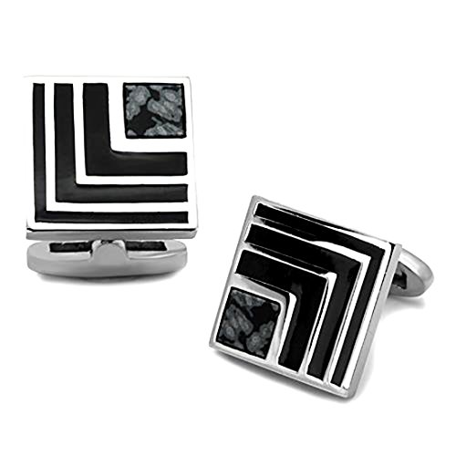 Square Stainless Steel Silver Tone and Black Cufflinks w/Synthetic Onyx Accent (Onyx Square Cufflinks)