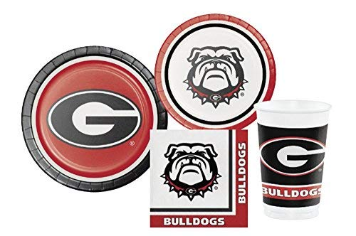 University of Georgia Bulldogs Party Supply Pack! Bundle Includes Plates Napkins & Cups for 8 Guests -
