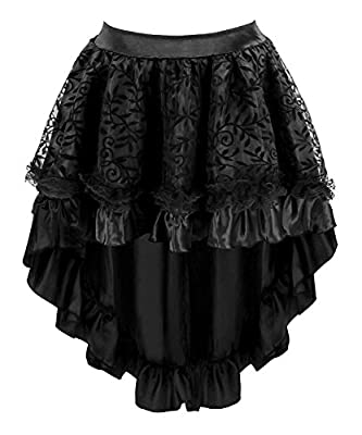 Blidece Women's Lace Steampunk Gothic Vintage Satin High Low Corset Skirt with Zipper Black