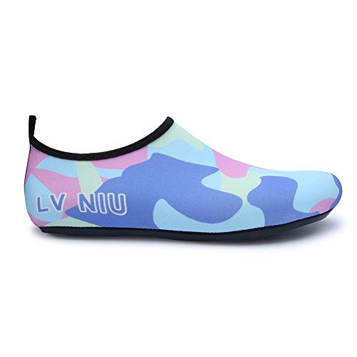 JIASUQI Frauen und Herren Classic Barfuß Wasser Sport Haut Schuhe Aqua Socken für Beach Swim Surf Yoga Übung Camou / Blau