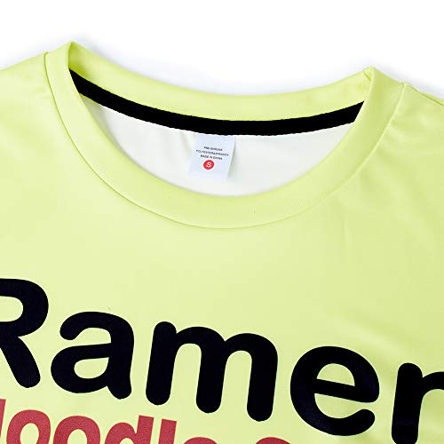 SKYRAINBOW Unisex T Shirt 3D Active Lifelike Ramen Noodle Soup Shirts Sportswear Personalized Funny Chicken Flavor Crew Neck Short Sleeve White Yellow