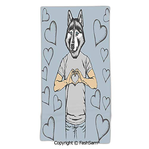 Home Bath Towel Husky Dog Faced Man at Valentines with Hearts Romantic Love Display Beach Sheet for Men Women(w12xL27)
