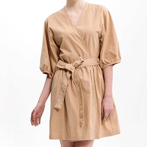 Accappatoio Gaolili cotone Dress Lady Fashion da corte La Sezione sottile metropolitana Marrone e Primavera di puro colore Autunno camicia taglia marrone in maniche cotone a notte rrdxanR