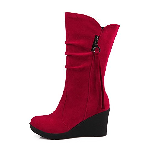Women's On Pull Toe AgooLar Kitten Solid Red PU Round Heels Boots AxdqICPw
