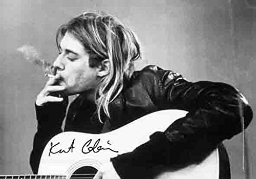 Kurt Cobain Smoking With Guitar Black & White Music Poster Fabric